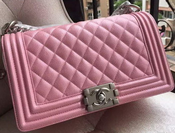 Boy Chanel Flap Shoulder Bag Pink Cannage Pattern A67086 Silver