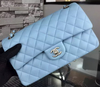 Chanel 2.55 Series Flap Bag SkyBlue Sheepskin Leather A06375 Silver