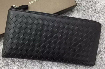 Bottega Veneta Intrecciato Leather Clutch BV144077 Black