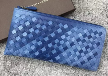 Bottega Veneta Intrecciato Leather Clutch BV144077 Blue