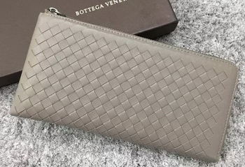 Bottega Veneta Intrecciato Leather Clutch BV144077 Grey