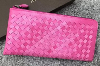 Bottega Veneta Intrecciato Leather Clutch BV144077 Rosy