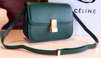Celine Classic Box Flap Bag Calfskin Leather C2263 Green