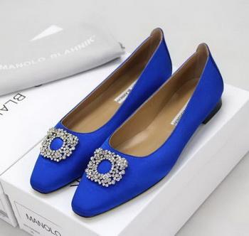 Manolo Blahnik Ballerina Satin Canvas MB095 Blue