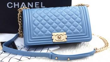 Boy Chanel Flap Shoulder Bag SkyBlue Sheepskin Leather A67086 Gold