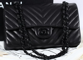 Chanel 2.55 Series Flap Bag Sheepskin Chevron Leather A1112 Black