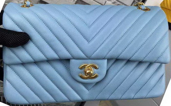 Chanel 2.55 Series Flap Bag SkyBlue Lambskin Chevron Leather A5023 Gold