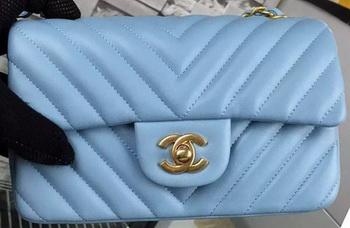 Chanel mini Classic Flap Bag SkyBlue Original Sheepskin Chevron Leather CHA5500 Gold