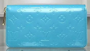 Louis Vuitton Monogram Vernis Zippy Wallet M90227 Light Blue