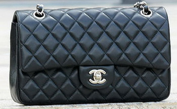 Chanel 2.55 Series Flap Bag Black Sheepskin Leather A1112 Silver