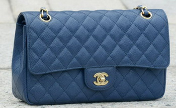 Chanel 2.55 Series Flap Bag Blue Cannage Pattern A1112 Gold