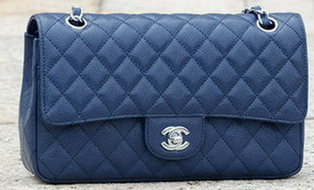 Chanel 2.55 Series Flap Bag Blue Cannage Pattern A1112 Silver