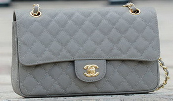 Chanel 2.55 Series Flap Bag Grey Cannage Pattern A1112 Gold