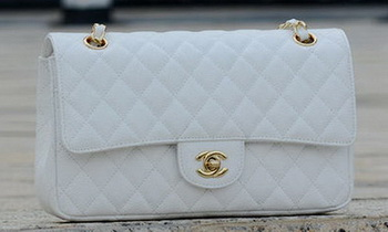 Chanel 2.55 Series Flap Bag White Cannage Pattern A1112 Gold