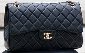 Chanel Jumbo Classic Black Sheepskin Flap Bag A58600 Gold