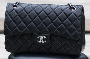 Chanel Jumbo Classic Black Sheepskin Flap Bag A58600 Silver