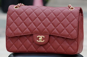 Chanel Jumbo Classic Burgundy Cannage Pattern Flap Bag A58600 Gold
