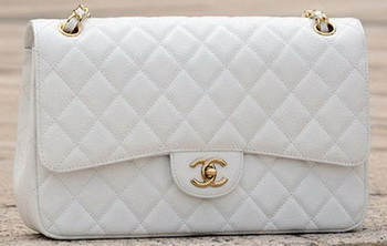 Chanel Jumbo Classic White Cannage Pattern Flap Bag A58600 Gold