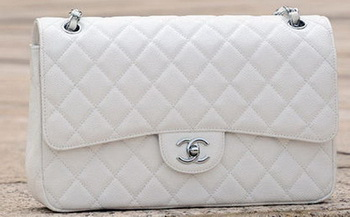 Chanel Jumbo Classic White Cannage Pattern Flap Bag A58600 Silver