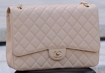 Chanel Maxi Quilted Classic Flap Bag Apricot Cannage Pattern A58601 Gold