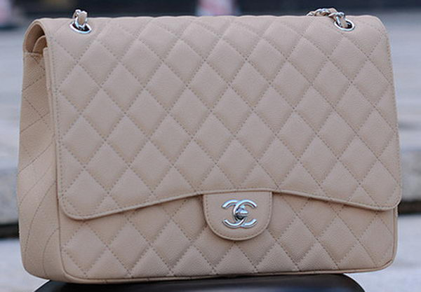 Chanel Maxi Quilted Classic Flap Bag Apricot Cannage Pattern A58601 Silver