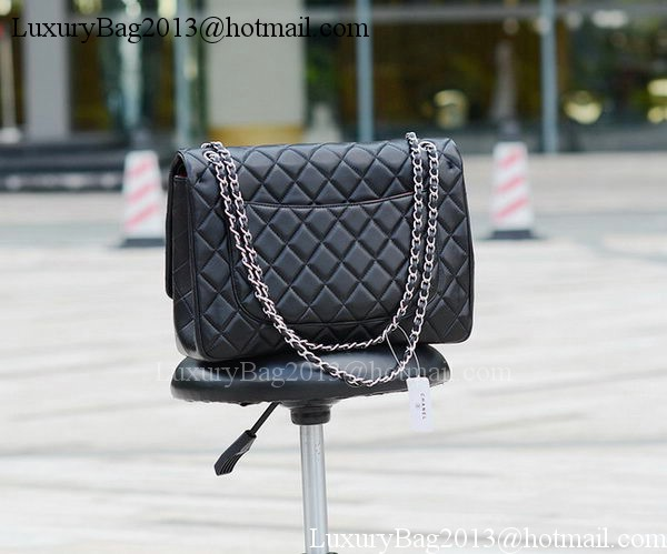 Chanel Maxi Quilted Classic Flap Bag Black Sheepskin A58601 Silver