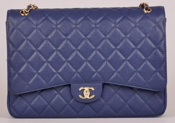 Chanel Maxi Quilted Classic Flap Bag Blue Cannage Pattern A58601 Gold