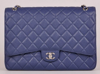 Chanel Maxi Quilted Classic Flap Bag Blue Cannage Pattern A58601 Silver