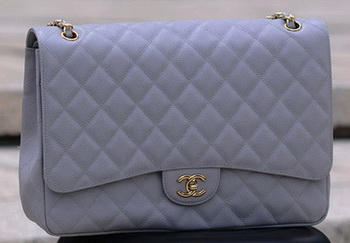 Chanel Maxi Quilted Classic Flap Bag Grey Cannage Pattern A58601 Gold