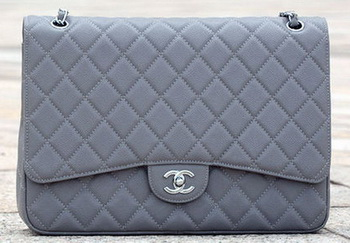 Chanel Maxi Quilted Classic Flap Bag Grey Cannage Pattern A58601 Silver