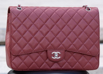 Chanel Maxi Quilted Classic Flap Bag Maroon Cannage Pattern A58601 Silver