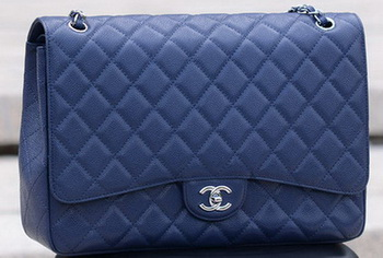 Chanel Maxi Quilted Classic Flap Bag Royal Cannage Pattern A58601 Silver