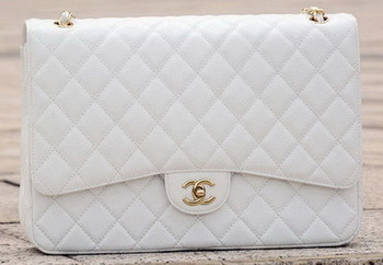 Chanel Maxi Quilted Classic Flap Bag White Cannage Pattern A58601 Gold