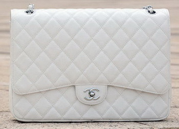Chanel Maxi Quilted Classic Flap Bag White Cannage Pattern A58601 Silver
