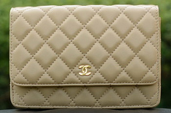 Chanel mini Flap Bags Apricot Sheepskin Leather A33814 Gold
