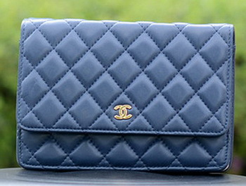 Chanel mini Flap Bags Blue Sheepskin Leather A33814 Gold