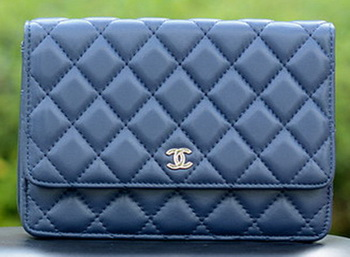 Chanel mini Flap Bags Blue Sheepskin Leather A33814 Silver