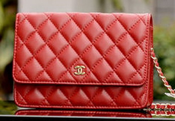 Chanel mini Flap Bags Red Sheepskin Leather A33814 Gold