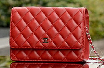 Chanel mini Flap Bags Red Sheepskin Leather A33814 Silver