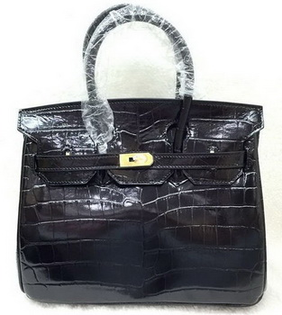 Hermes Birkin 25CM Tote Bag Croco Leather H25TCO Black