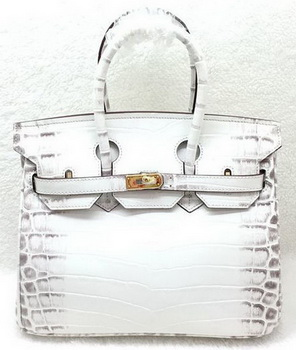 Hermes Birkin 25CM Tote Bag Croco Leather H25TCO OffWhite