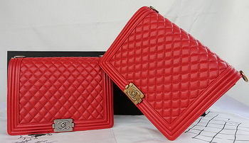 Boy Chanel Flap Shoulder Bag Original Cannage Pattern A67087 Red