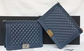 Boy Chanel Flap Shoulder Bag Original Cannage Pattern A67087 Royal