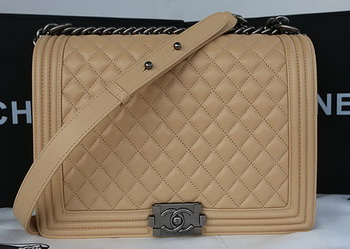 Boy Chanel Flap Shoulder Bag Original Sheepskin Leather A67087 Apricot