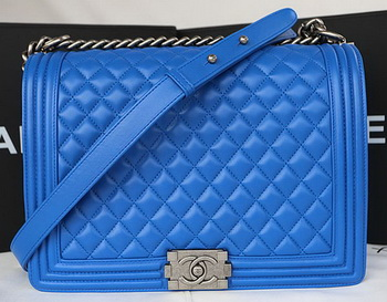 Boy Chanel Flap Shoulder Bag Original Sheepskin Leather A67087 Blue