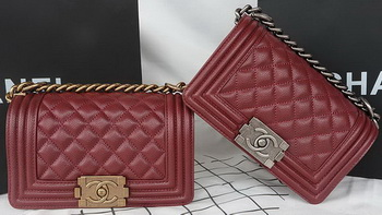 Boy Chanel mini Flap Bag Original Cannage Pattern A67085 Burgundy