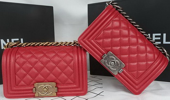Boy Chanel mini Flap Bag Original Cannage Pattern A67085 Dark Red