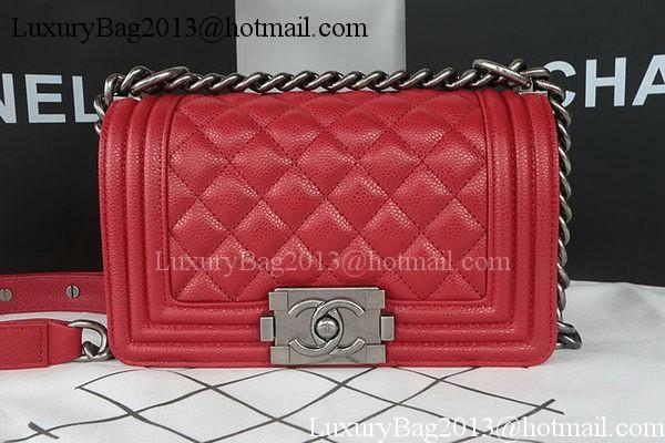 Chanel Dark Red Quilted Lambskin New Medium Boy Bag