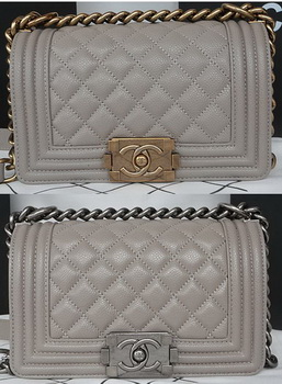 Boy Chanel mini Flap Bag Original Cannage Pattern A67085 Grey