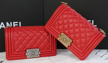 Boy Chanel mini Flap Bag Original Cannage Pattern A67085 Red